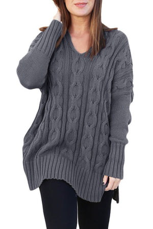 Cotton Gray Oversized Cozy up Knit Sweater - Winter Haven Co