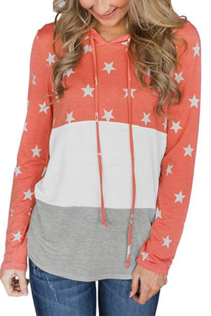 Cute Coral Starry Splice Colorblock Drawstring Hoodie - Winter Haven Co