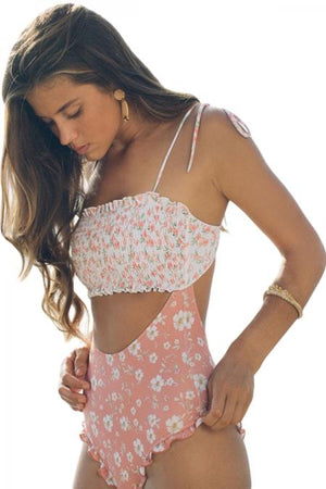 Cute Pink Smocked Floral One Piece Swimsuit - Winter Haven Co