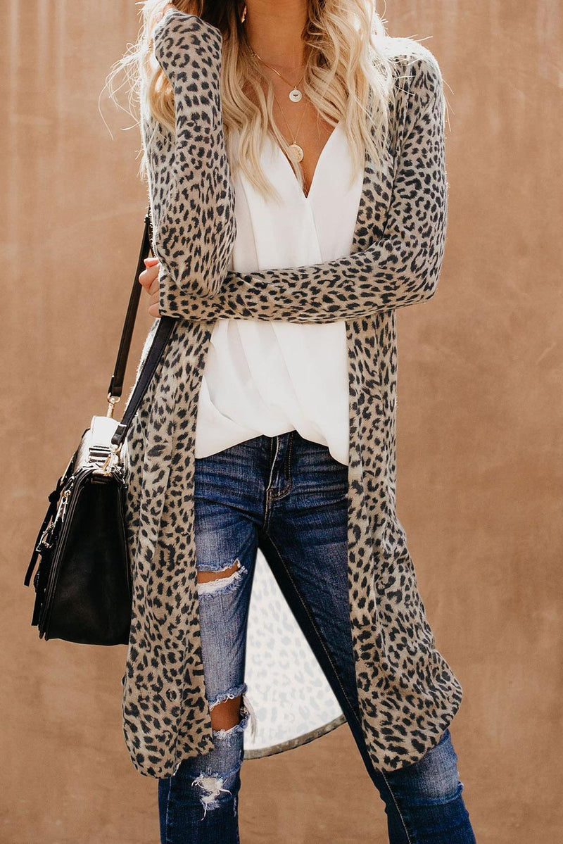 Fashion Leopard Print Long Cardigan - Winter Haven Co