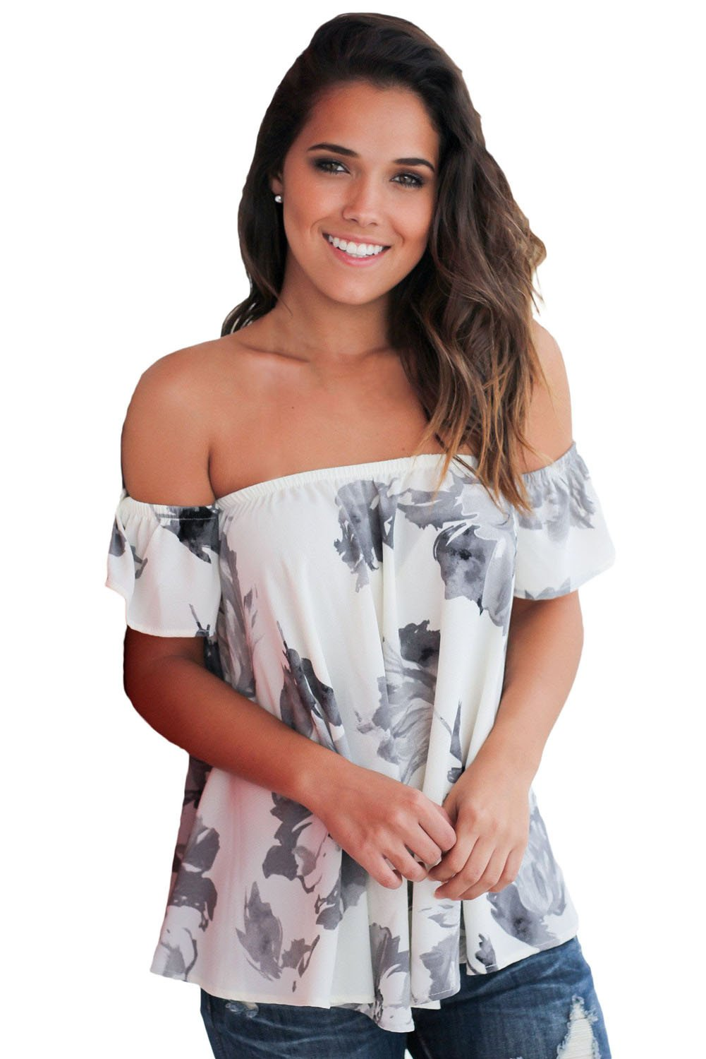 Fashion Off Shoulder White Inky Floral Blouse - Winter Haven Co