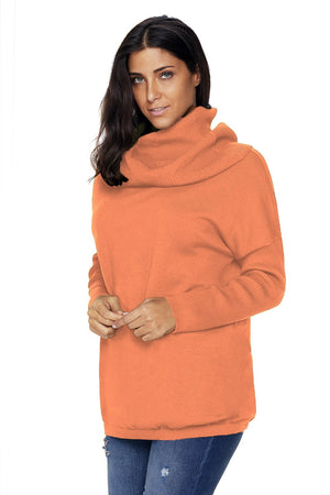 Fashion Orange Cozy Cowl Neck Long Sleeve Sweater - Winter Haven Co