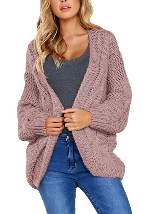 Fashion Pink Chunky Wide Long Sleeve Knit Cardigan - Winter Haven Co