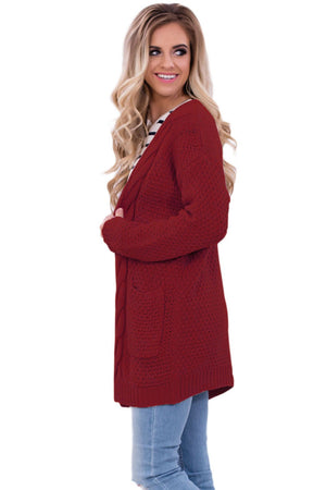 Fashion Red Pocket Long Sleeve Cardigan - Winter Haven Co