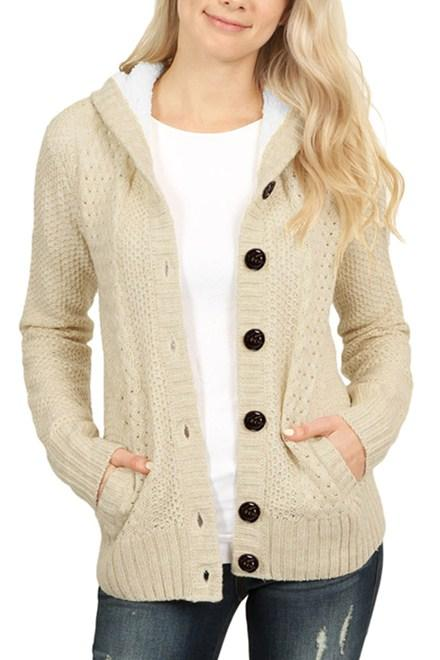 Fleece Hooded Apricot Button Down Cardigan Sweater - Winter Haven Co