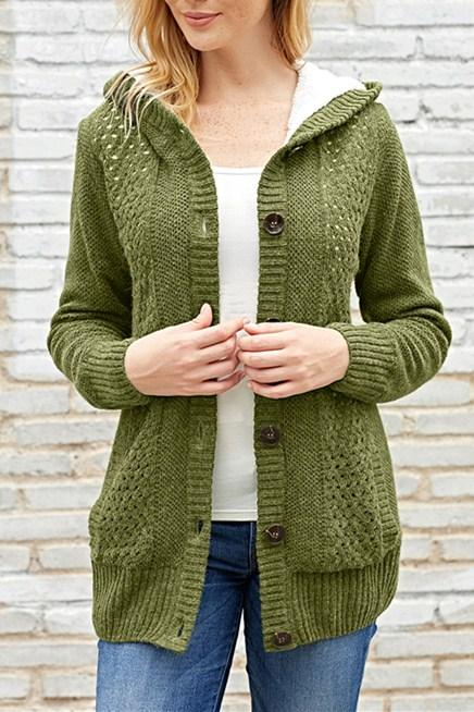 Fleece Hooded Olive Button Down Cardigan Sweater - Winter Haven Co
