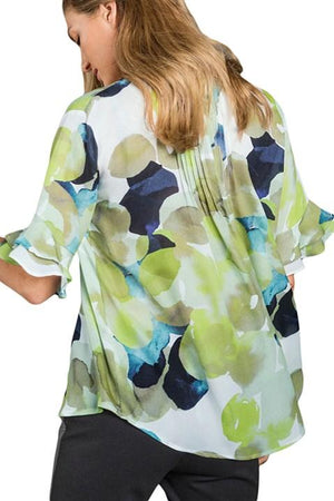 Flounced Sleeve Draped Tie Dye Print Blouse - Winter Haven Co