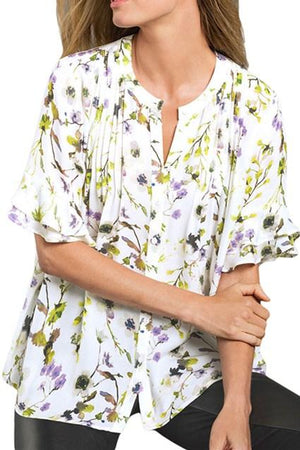 Flounced Sleeves Draped Floral Blouse - Winter Haven Co