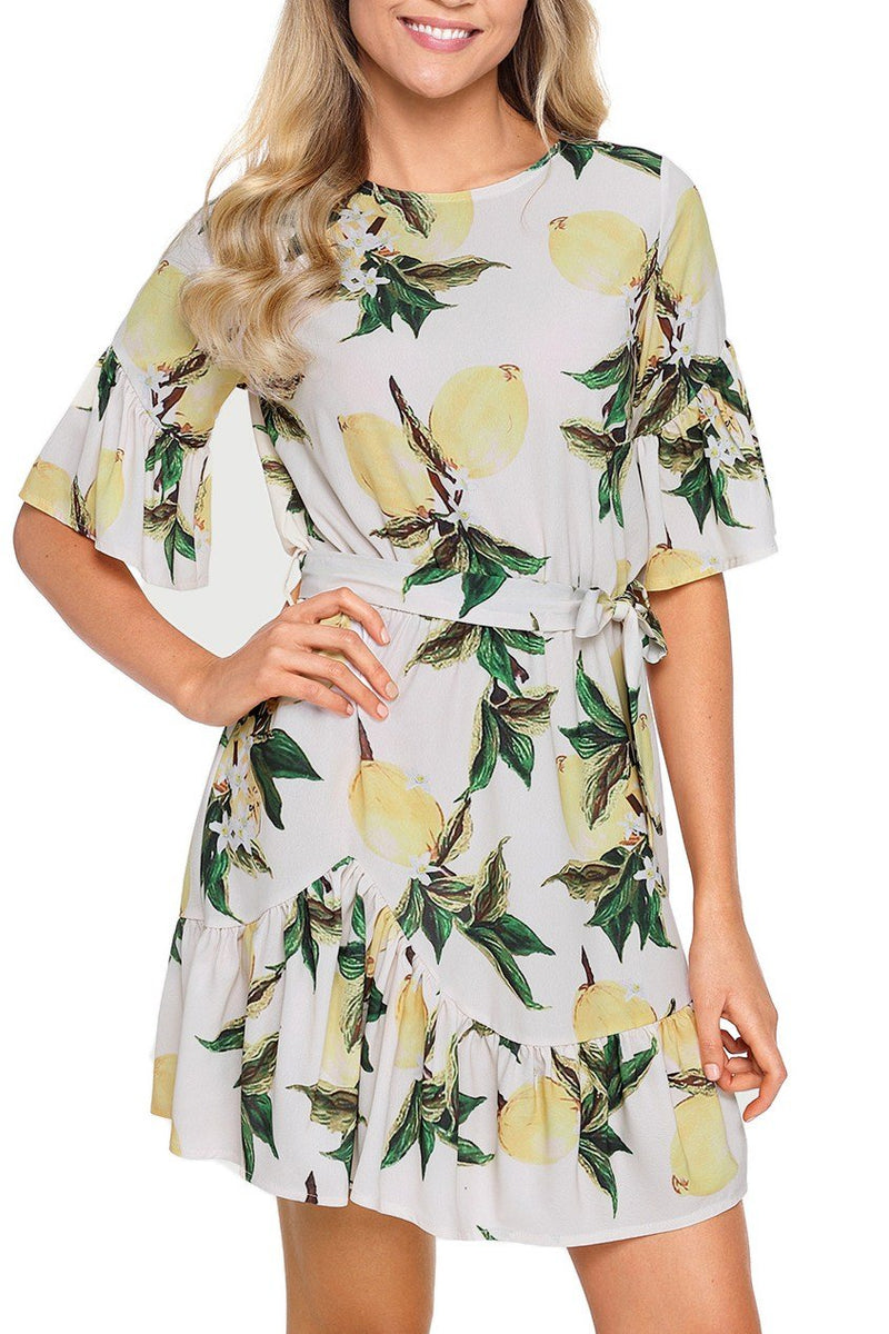 Fruit Print Pattern Ruffle Hem Chiffon Dress - Winter Haven Co