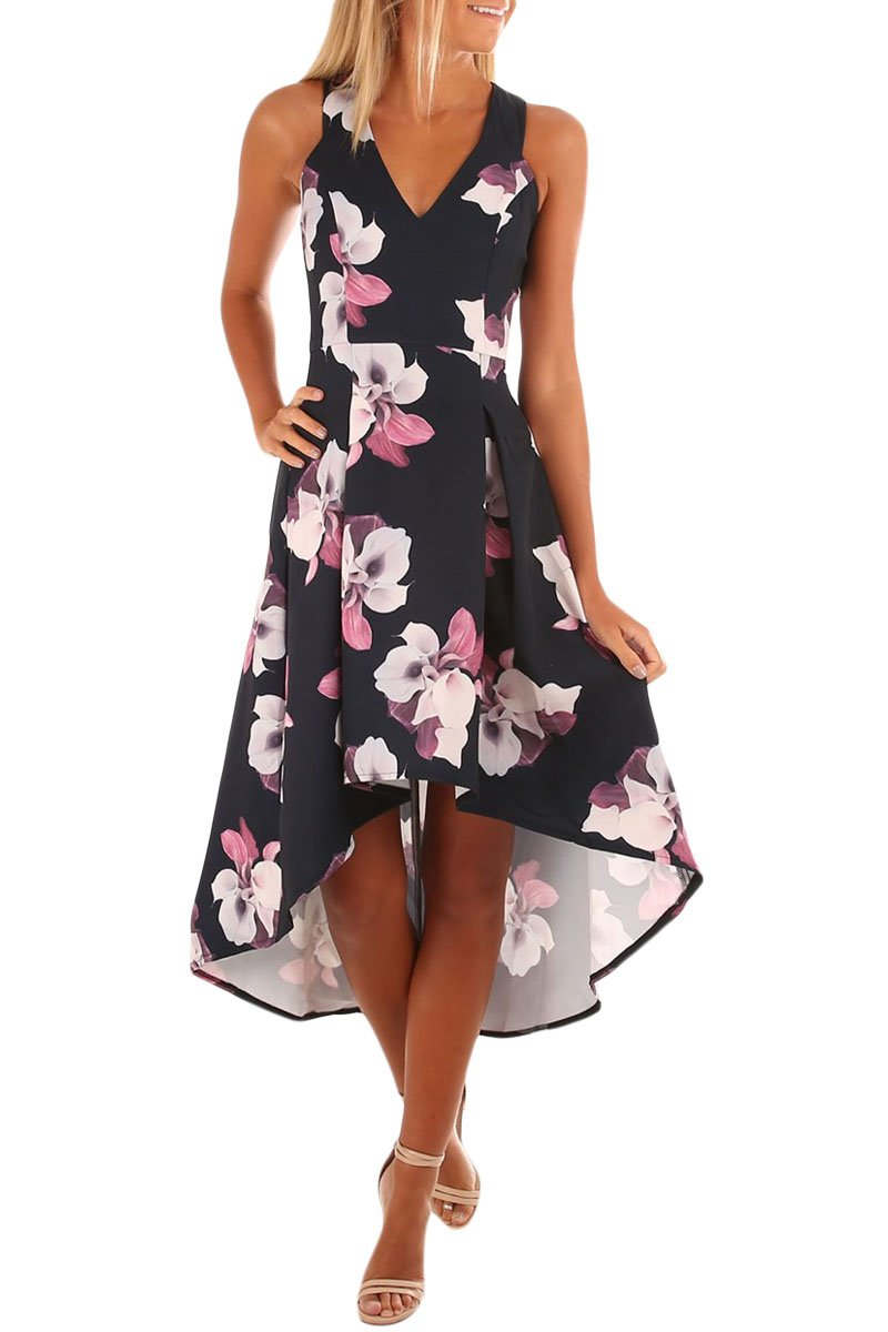 Fushcia Floral High Low Hem Midi Dress - Winter Haven Co