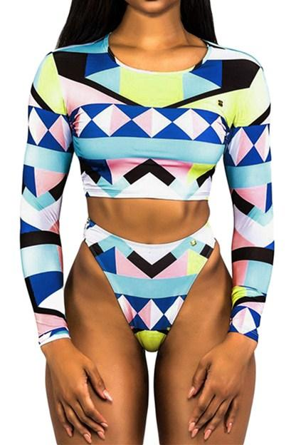 Geometric Colorblock Long Sleeve High Waist Tankini Swimsuit - Winter Haven Co