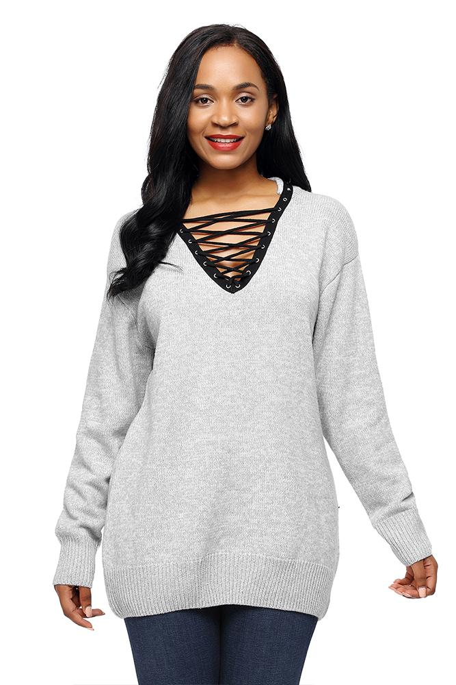 Gray Chic Lace up Neckline Long Sleeve Sweater - Winter Haven Co
