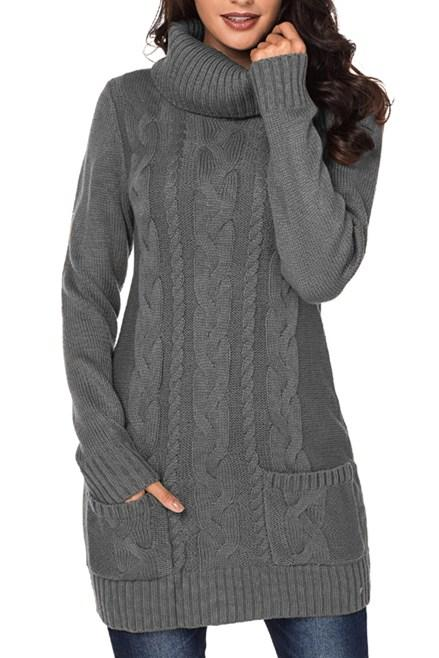 Gray Cowl Neck Pockets Cable Knit Sweater Dress - Winter Haven Co