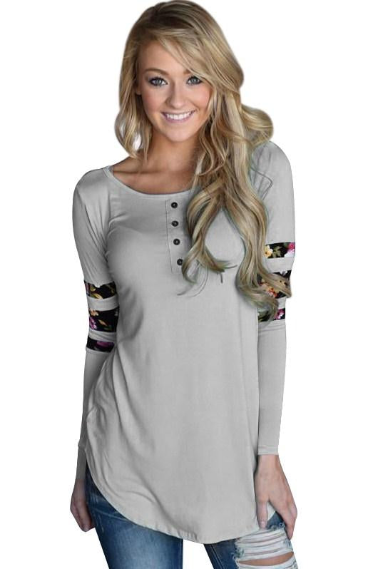 Gray Floral Print Splice Long Sleeve Pullover Blouse - Winter Haven Co