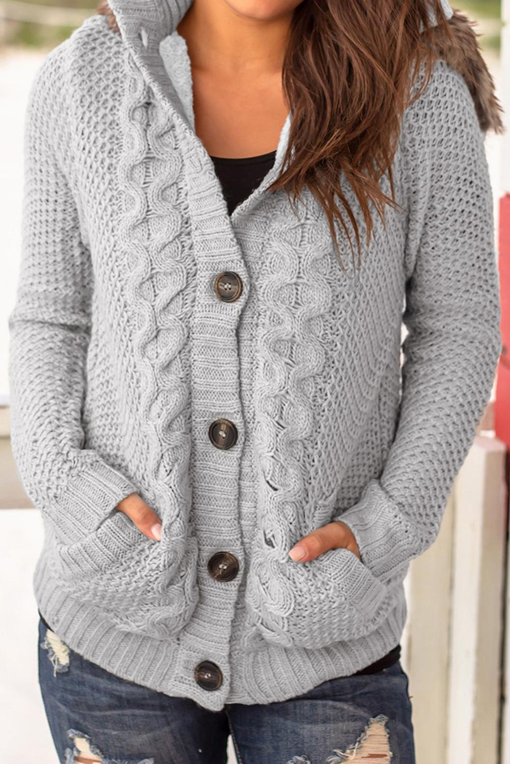 Gray Fur Hood Cable Knit Cardigan Sweater - Winter Haven Co