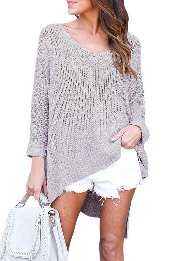 Gray Knit High-low Slit Side Oversized Sweater - Winter Haven Co
