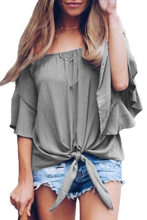 Gray Off The Shoulder Knot Front Blouse - Winter Haven Co