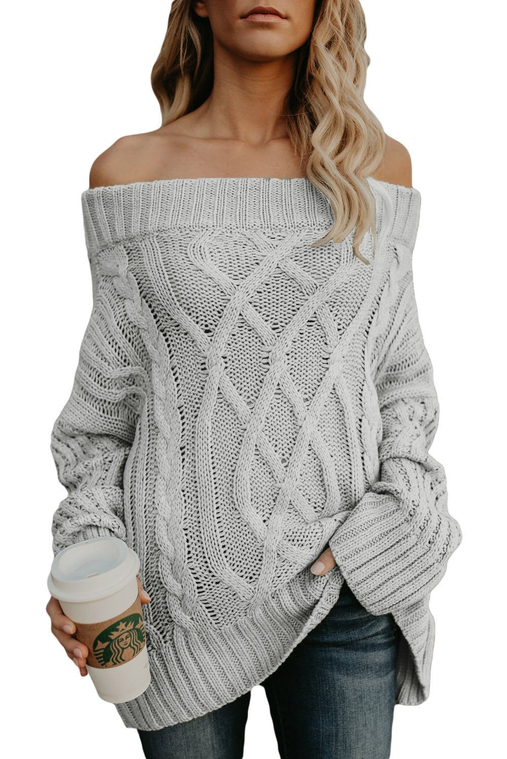 Fashion Gray Off The Shoulder Winter Sweater - Winter Haven Co