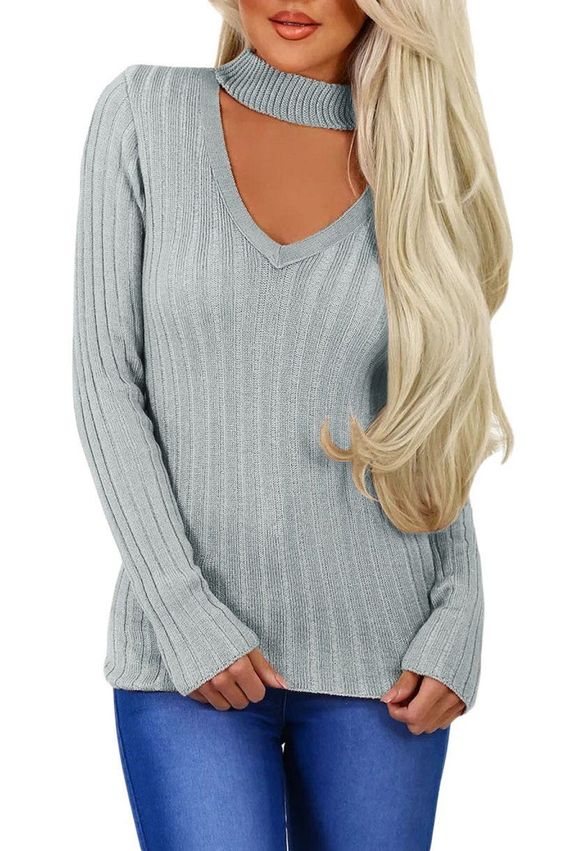 Gray Ribbed Choker Neck Sweater - Winter Haven Co