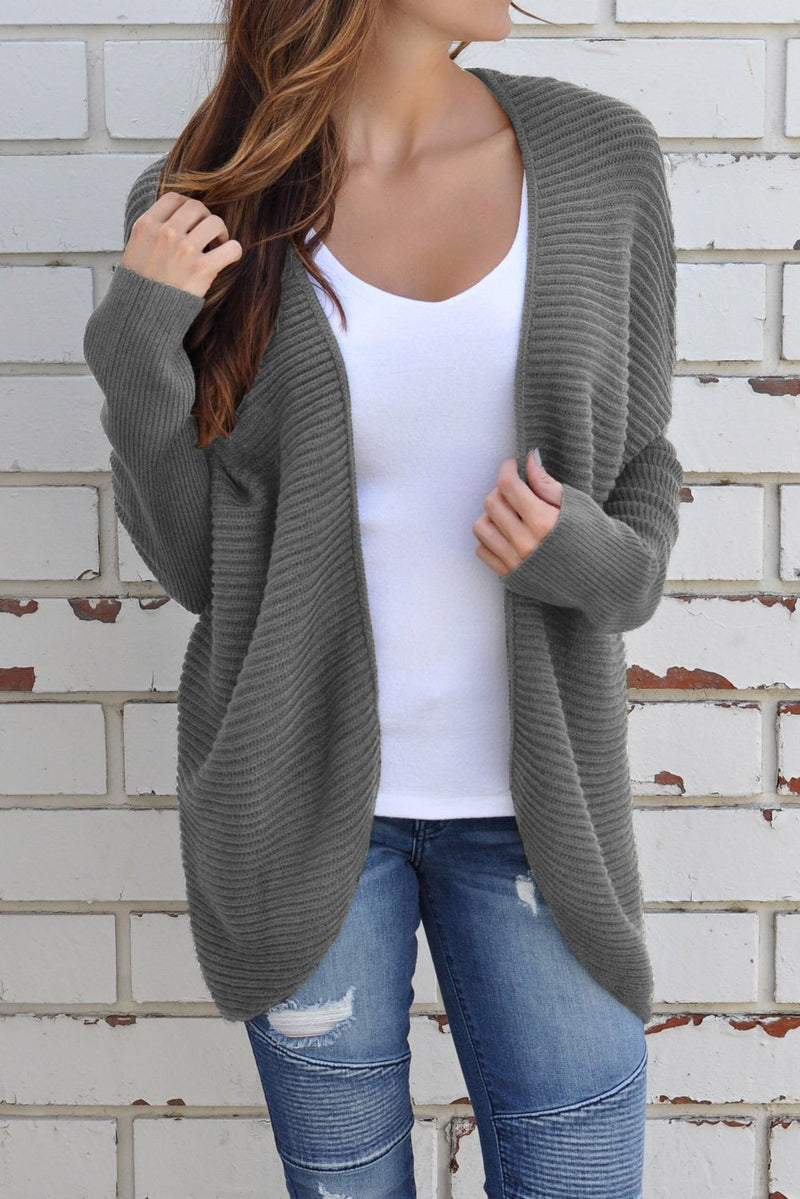 Gray Ribbed Knit Lace Up Back Sweater Cardigan - Winter Haven Co