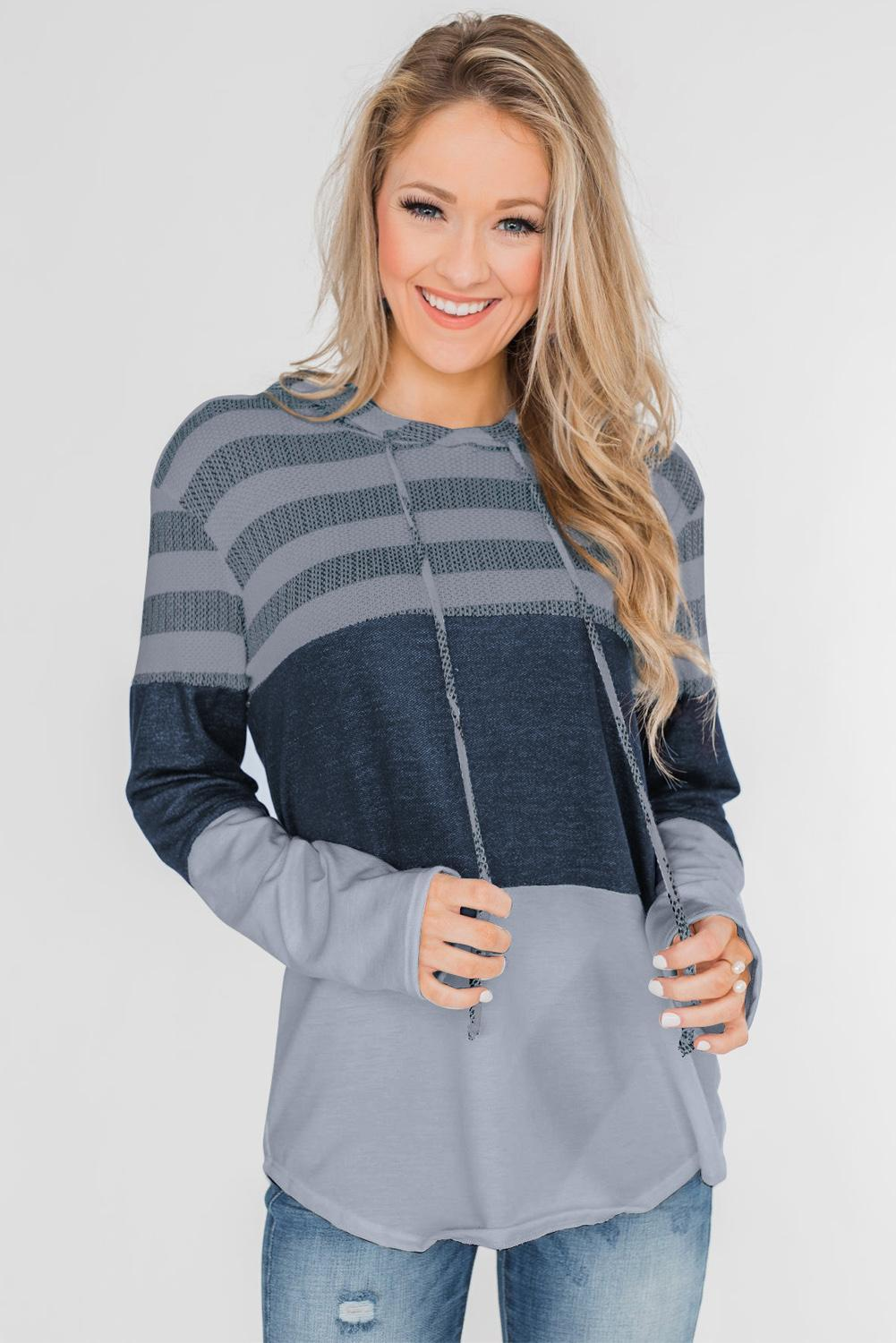 Gray Speak to Me Color Block Drawstring Hoodie
