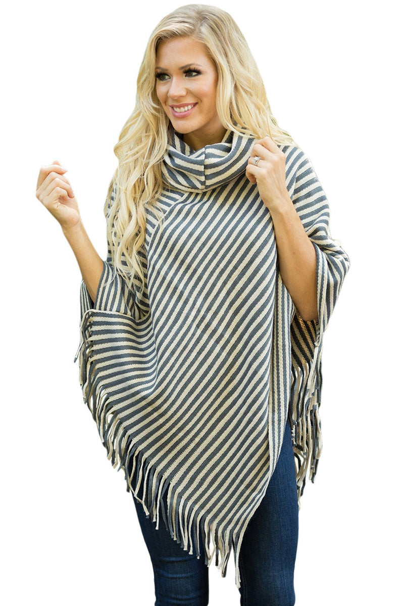 Gray White Stripes Tassel Cowl Neck Poncho Sweater - Winter Haven Co