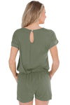 Casual Green Short Sleeve Drawstring Romper - Winter Haven Co