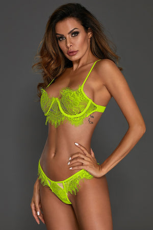 Green Eyelash Lace 2pcs Lingerie Bralettes Set