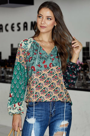 Green Floral Print Peasant Long Sleeve Blouse - Winter Haven Co