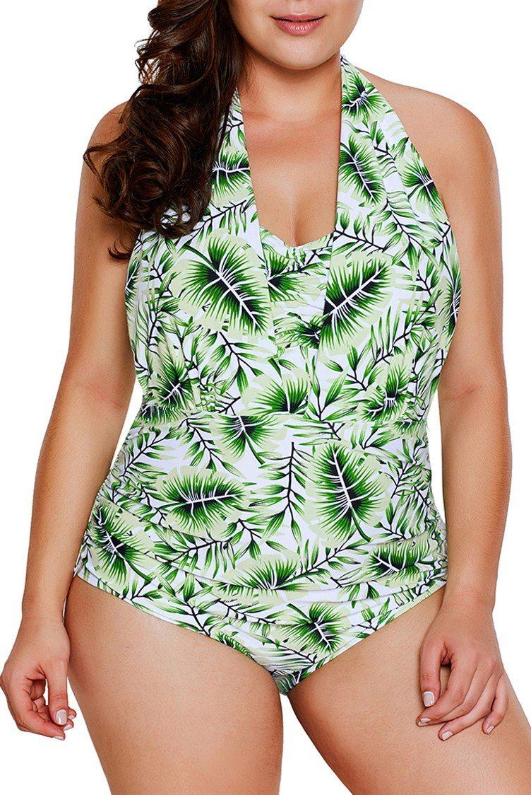 Green Leaf Print Halterneck One Piece Swimsuit