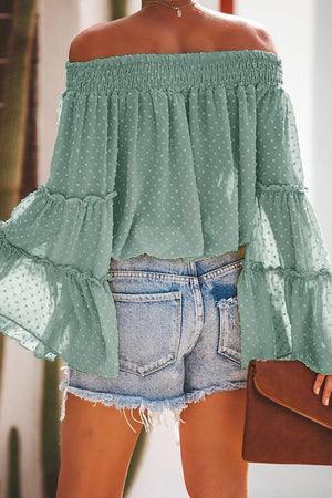 Green Swiss Dot Off The Shoulder Bell Sleeve Blouse - Winter Haven Co