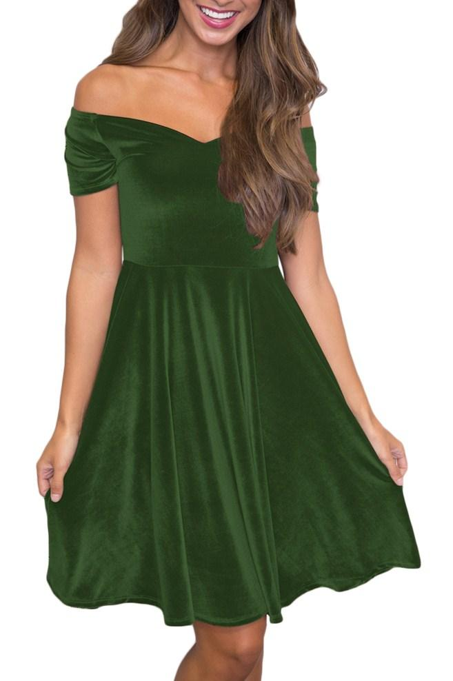 Green Velvet Off Shoulder Pleated Midi Skater Dress - Winter Haven Co