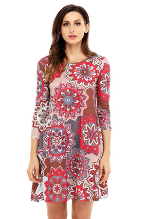 Grey Brown Sunflower Print Bohemian Dress - Winter Haven Co