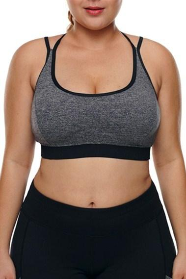 Grey Plus Size Cross-strap U-shaped Neck Sport Bras - Winter Haven Co