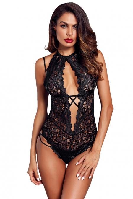 Halter Cutout Black Lace Bodysuit - Winter Haven Co