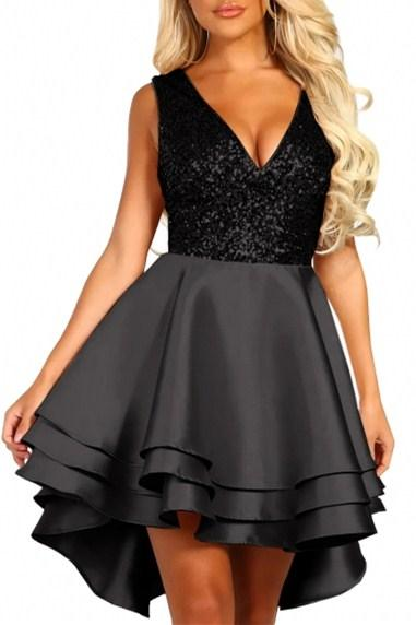 Heart Broken Black Sequin Multi Layer Cocktail Party Skater Dress - Winter Haven Co