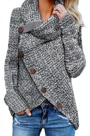 Heather Gray Buttoned Wrap Turtleneck Sweater - Winter Haven Co
