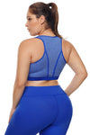 Heathered Royal Blue Piping Trim Racerback Plus Workout Bra - Winter Haven Co