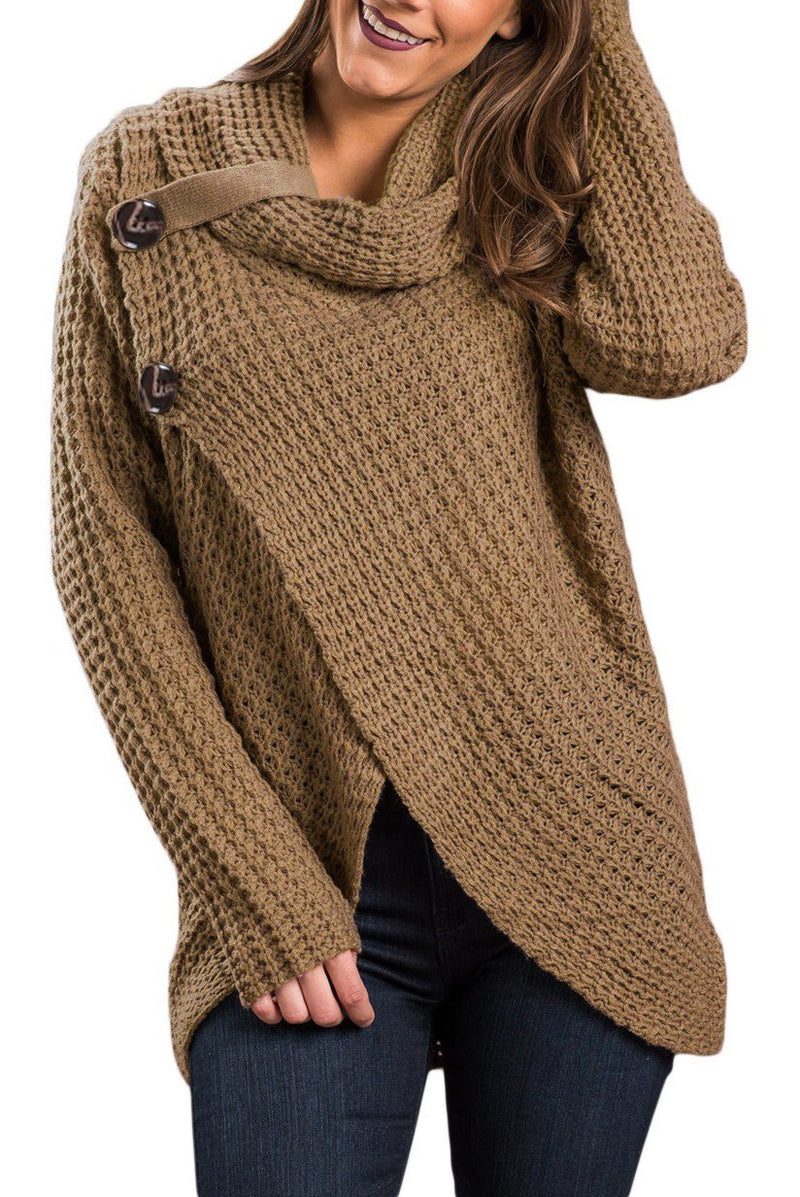 Khaki Buttoned Wrap Cowl Neck Sweater - Winter Haven Co