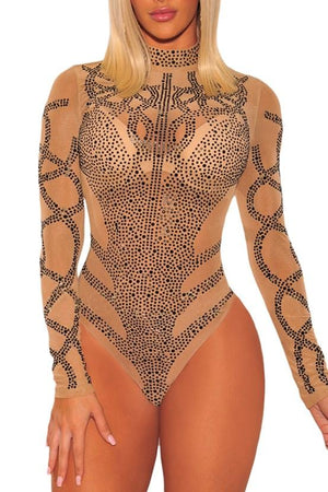 Khaki Rhinestone Faux Bustier Mesh Turtleneck Long Sleeves Bodysuit - Winter Haven Co