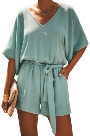 Army Green Casual Spring Scene Pocketed Tie Romper - Winter Haven Co