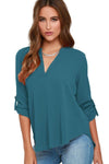 Lake Green V Neck Loose Fitting Chiffon Blouse - Winter Haven Co