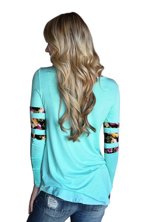Light Blue Floral Print Splice Long Sleeve Pullover Blouse - Winter Haven Co