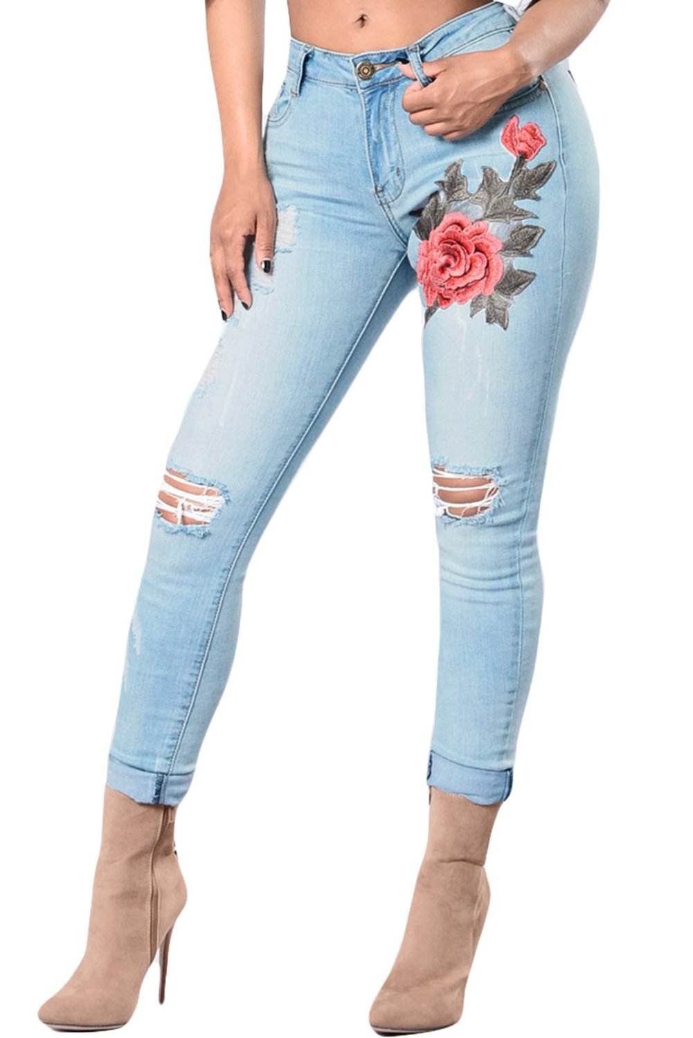Light Blue Rose Embroidery Distressed Skinny Jeans