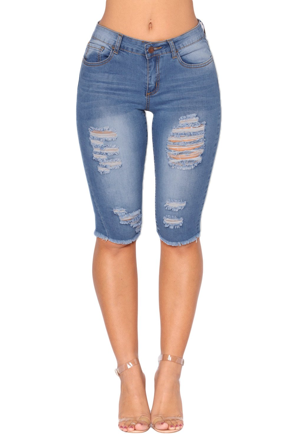 Light Blue Wash Denim Destroyed Bermuda Shorts - Winter Haven Co
