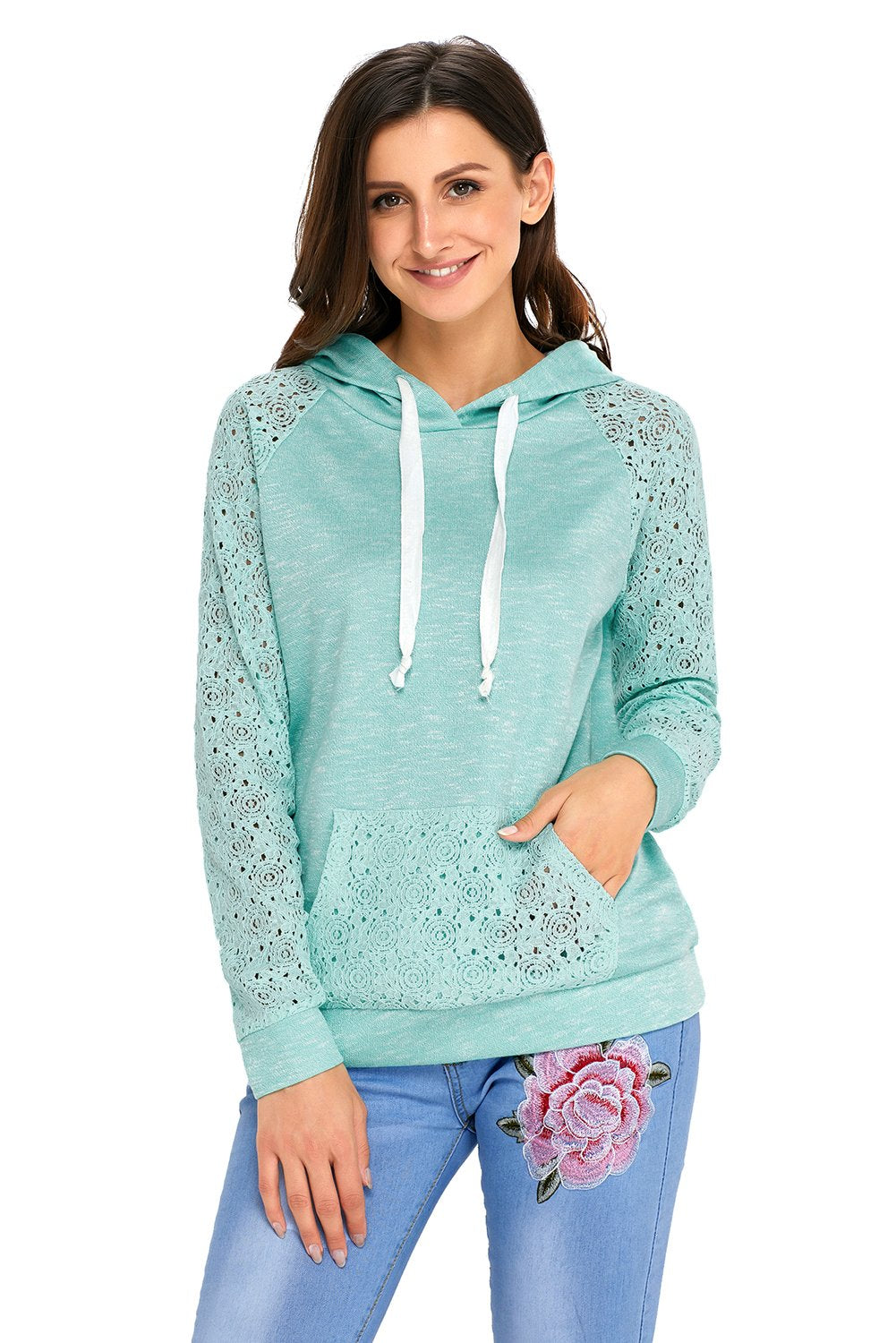 Light Green Lace Accent Kangaroo Pocket Casual Hoodie