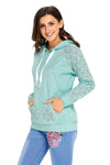 Light Green Lace Accent Kangaroo Pocket Casual Hoodie - Winter Haven Co