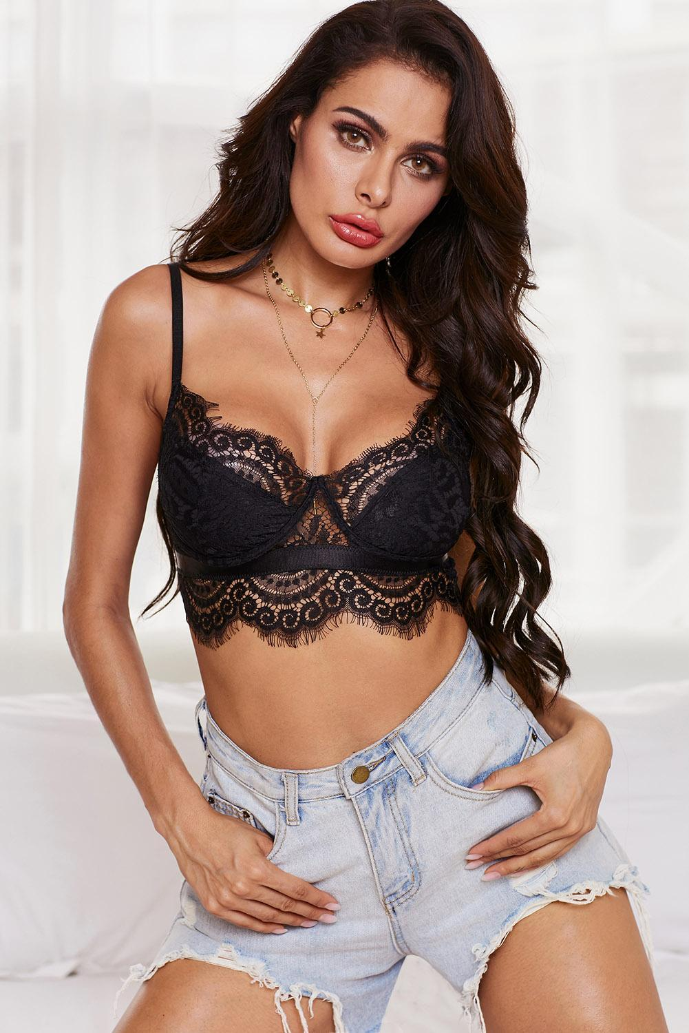 Live A Little Fun Black Lace Bralette