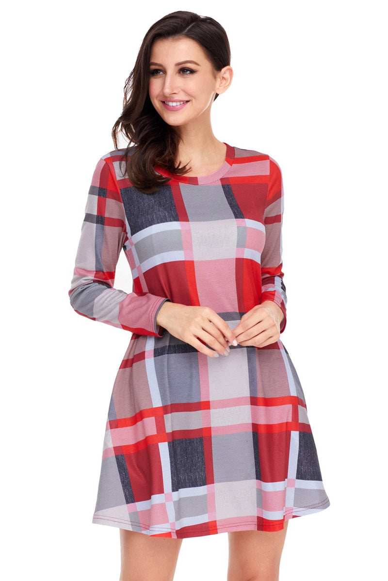 Long Sleeve Multicolor Plaid Mini Dress - Winter Haven Co