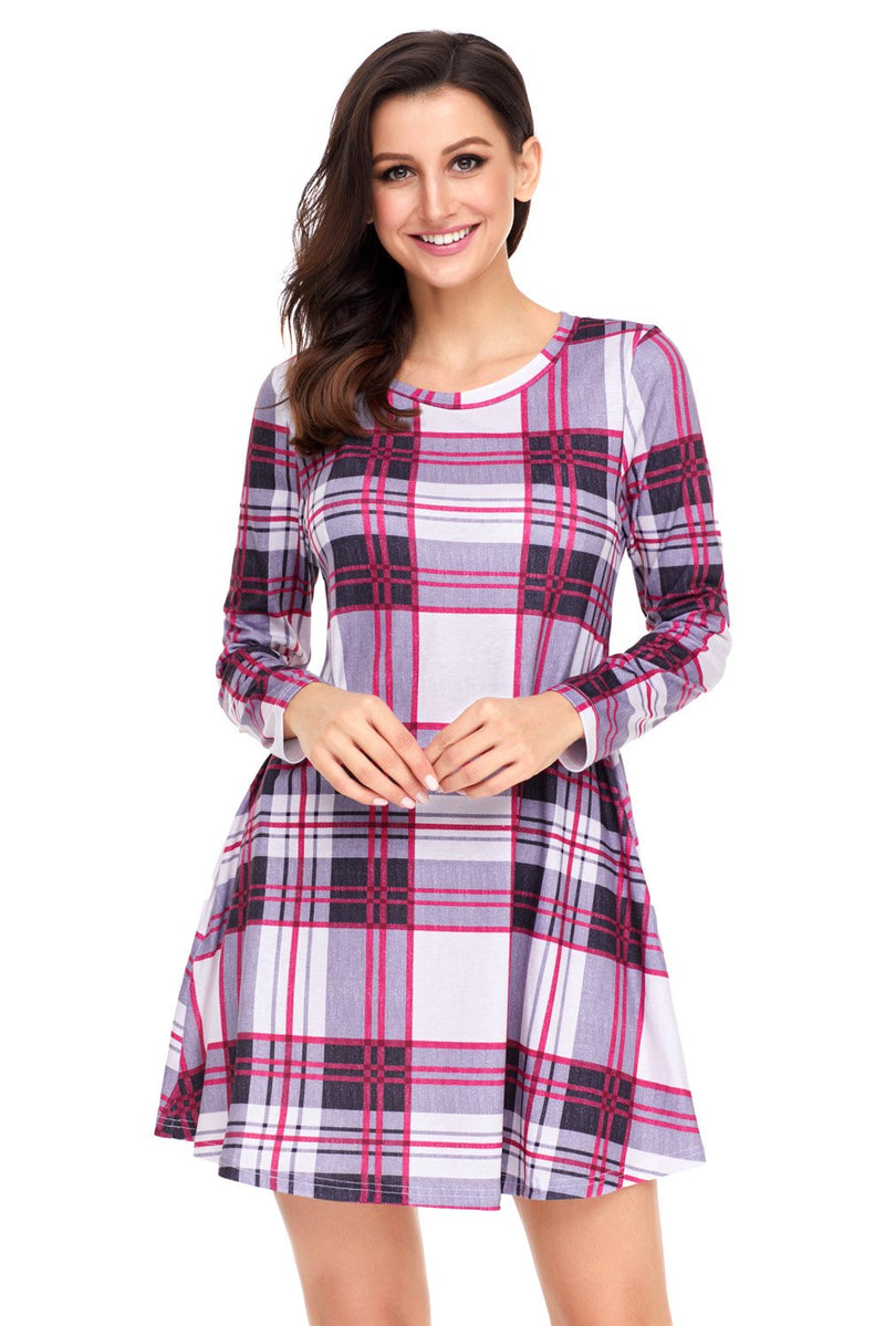 Long Sleeve Preppy Plaid Mini Dress - Winter Haven Co